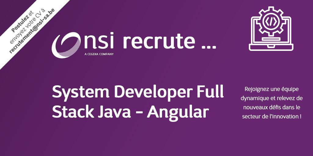 NSI recrute : System Developer Full Stack Java - Angular